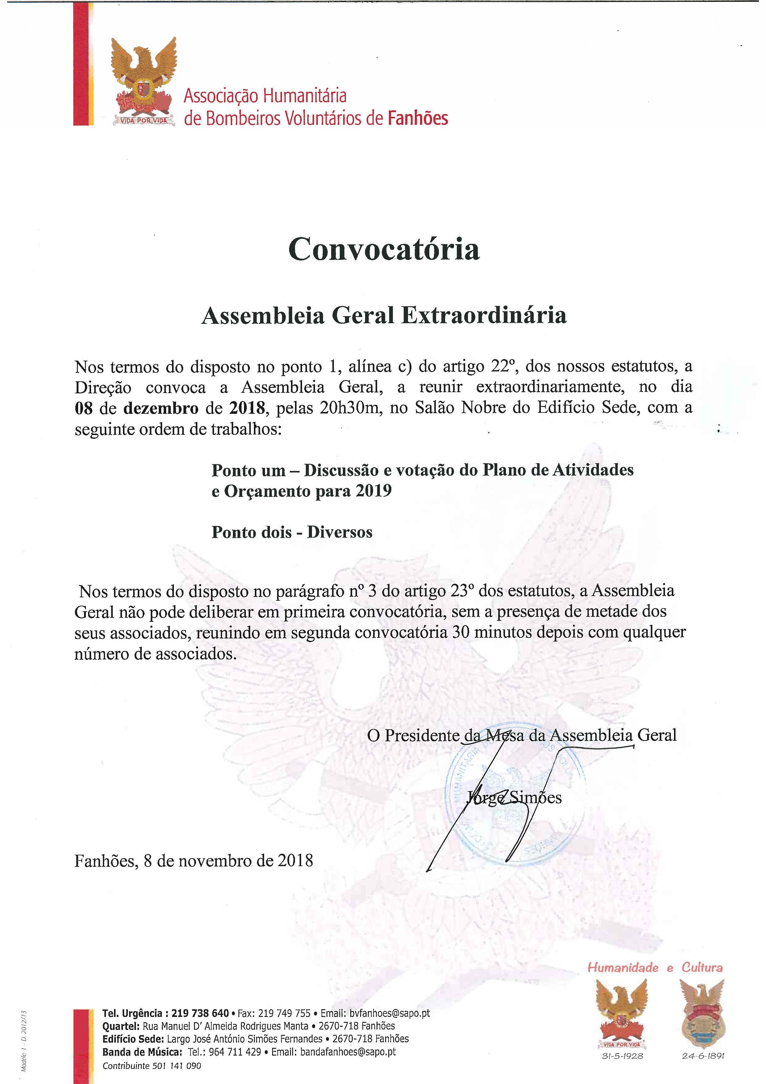 Assembleia Geral Extraordinária – 08/12/2018 – 20:30